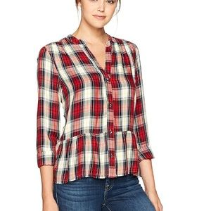 NWT Splendid Plaid Frayed Hem Shirt Small Trendy!